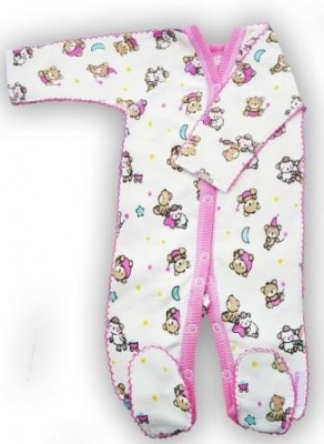 """Комбинезон """"Спокойной ночи""""  розовый из футера,  шов мережка, теплый, на рост  42 см, 50 см"""
