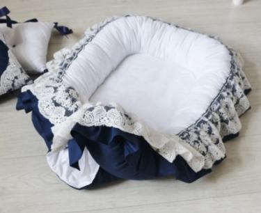 """Гнездышко кокон babynest """"Индиго"""", голубой для младенца, размер 15х57х85см"""