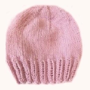 Шапочка вязаная  для девочки 100%  мериносовая шерсть на рост  46 см, 50 см, розовый