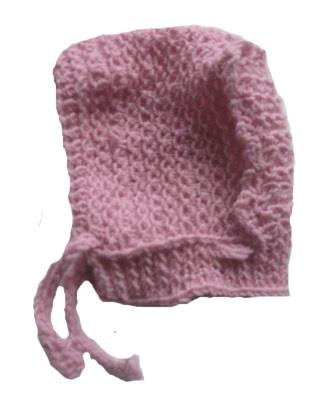 Шапочка вязаная с завязками, 100% мериносовая шерсть, розовая, на рост  46 см, 50 см