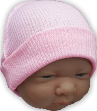 Шапочка трикотажная розовая  100% хлопок,  на рост 38 см, 42 см, 46 см