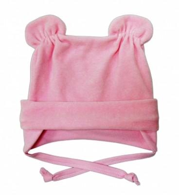 Шапочка  из велюра  розовая с ушками  на подкладке  на рост 50 см