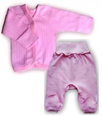 """Комплект """"Ажур"""" Розовый из интерлока: распашонка и штанишки со следом,  на рост  50 см"""