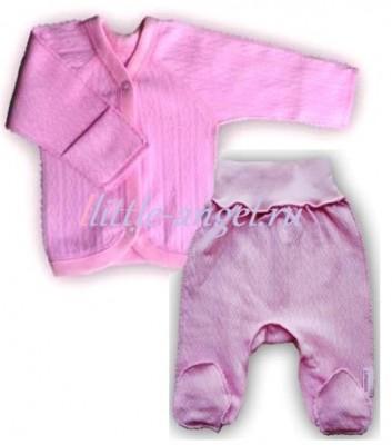 "Комплект ""Ажур"" Розовый из интерлока: кофточка и штанишки со следом,  на рост 46 см, 50 см"