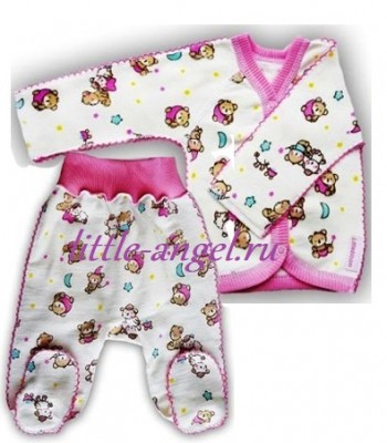 """Комплект из футера  кофточка и штанишки  """"Спокойной ночи"""" розовый, теплый,  на рост 50 см"""