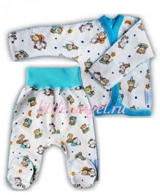 """Комплект """"Спокойной ночи"""" голубой  из футера, теплый: кофточка и штанишки со следом,  на рост  42 см, 46 см"""