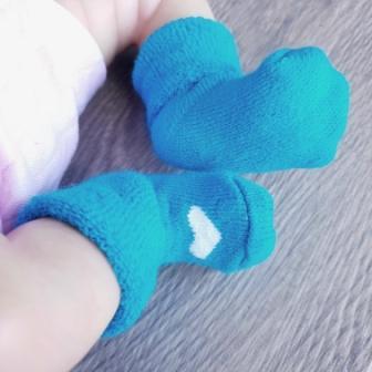 Носочки  махровые, бирюзовые с белым сердечком 4-6 см