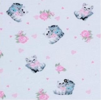 Пеленка из интерлока Котята 120х80  см,  розовый