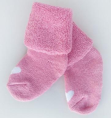 Носочки  махровые, розовые с белым сердечком р. 3-4 см, 4-6 см