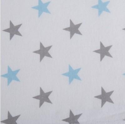 Пеленка фланель Звезды  80 х 110 см, цвет: голубой/серый