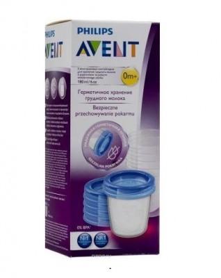 Philips Avent Набор контейнеров для грудного молока c крышками 180 мл, 5 шт