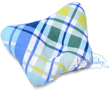 Ортопедическая подушка-бабочка для новорожденного, голубая клетка, 0-6 мес.