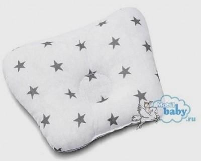 Ортопедическая подушка-бабочка для новорожденного, серые звезды, 0-6 мес.