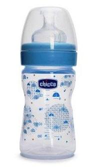 Бутылочка Chicco Well-Being Boy 150 мл с силиконовой соской, голубая,  0 мес+