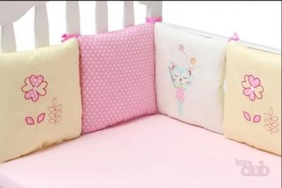 """Подушки- бортики  с вышивкой  """" котик, цветок, горошек"""" в кроватку 6 шт., 100% хлопок"""