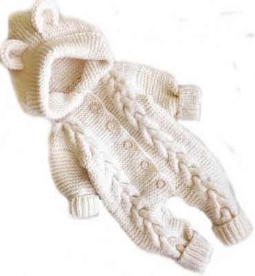 Комбинезон вязаный  белый с ушками,  рост 48-50 см