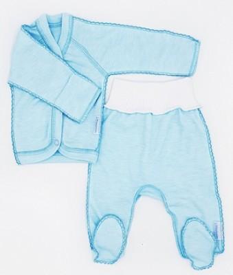 """Комплект """"Просто голубая""""  из интерлока: кофточка и штанишки со следом,  на рост 46 см"""